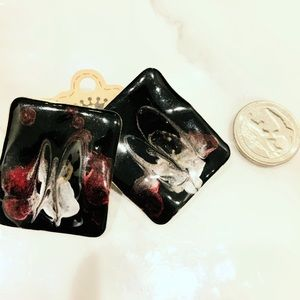 Black Handpainted Burgundy Earrings